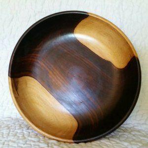 Vintage Kitchen - Vintage 2 Tone Brown Wooden Boho Salad Bowl Set